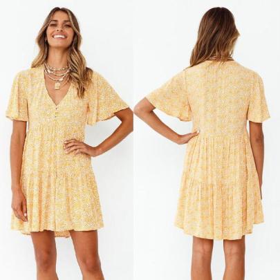 Fashion Short-sleeved V-neck Floral Big Hem Short Dress NSJC56352