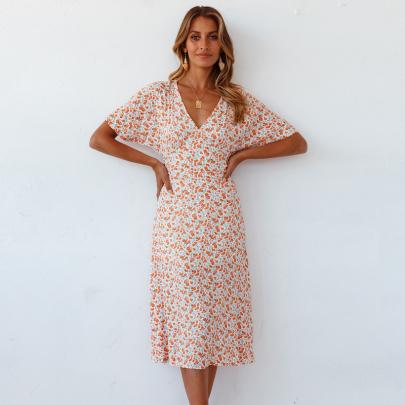 Fashion Slim V-neck Printed Short-sleeved Dress NSJC56350