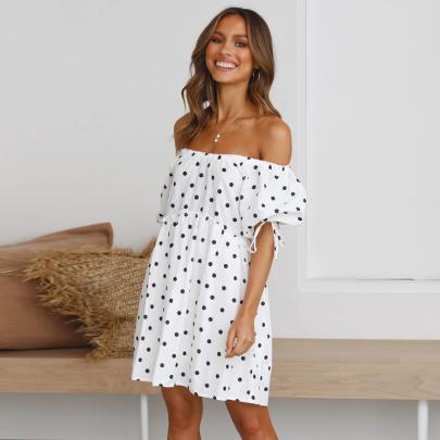 Fashion Short-sleeved Printed Off-the-shoulder Polka-dot Short Dress NSJC56349