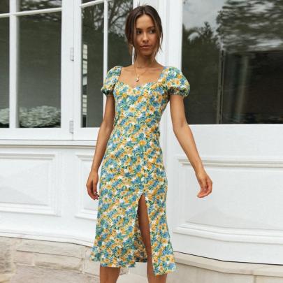 Summer Sexy Short-sleeved Printed Hem Slim Dress NSJC56348