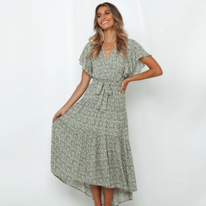 Summer Short-sleeved Printed Lace-up V-neck Dress NSJC56347