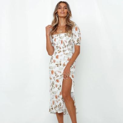 Summer New Fashion Printed Slim-fit Split Dress NSJC56346