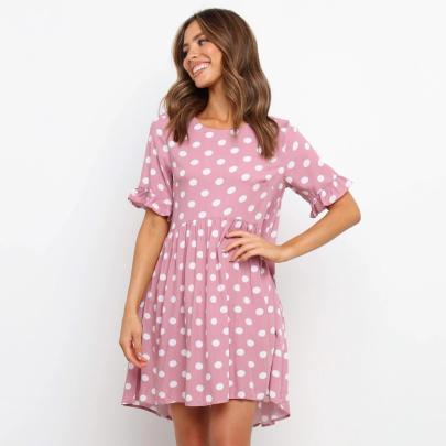 Fashion Short Sleeve Round Neck Polka Dot Printed Big Plaid Dress NSJC56345