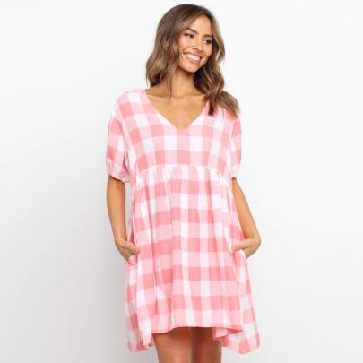 Summer Short-sleeved V-neck Plaid Dress  NSJC56344
