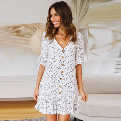 Fashion Short Sleeve V-neck Polka Dot Printed Big Plaid Dress NSJC56343