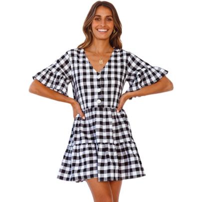 Fashion V-neck Plaid Print Big Swing Dress NSJC56342