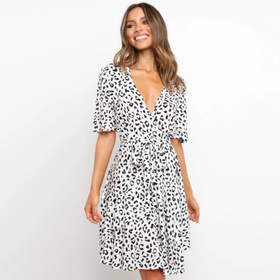 Spring Short Sleeve Printed V-neck Tie Waist Dress NSJC56341