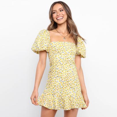 Spring Fashion Short Sleeve Square Neck Printed Puff Sleeve Dress NSJC56340