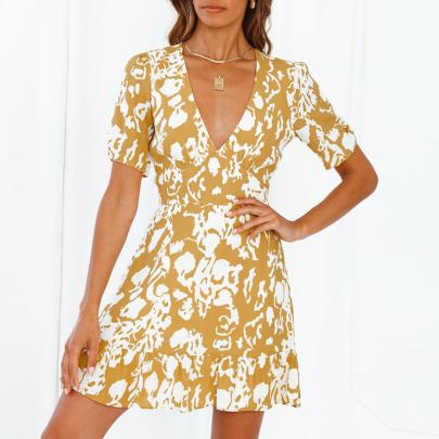 Sexy Short-sleeved V-neck Print Short Dress NSJC56338