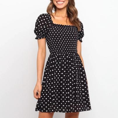 Spring Short Sleeve Polka Dot Printed Big Plaid Dress NSJC56337