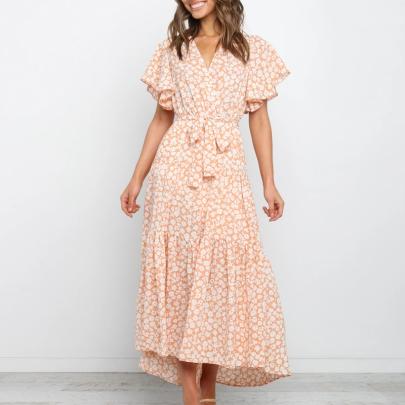 Summer V-neck Tie Printed Big Swing Dress NSJC56336