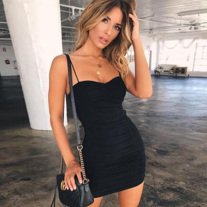 Summer Sling Slim Sexy Solid Color Short Dress NSJC56333