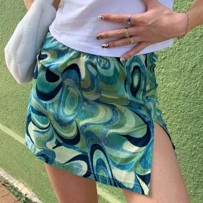 Vortex Print Hit Color High Waist Split Short Skirt NSNWQ56309