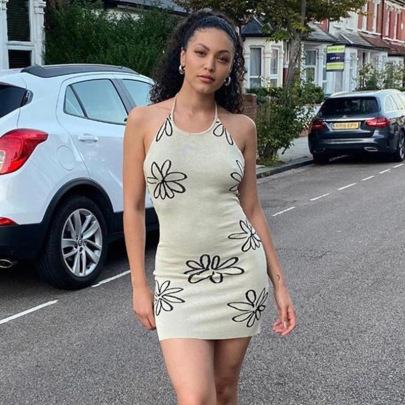 Fashion Floral Hanging Neck Sexy Slim Bag Hip Knitted Dress NSNWQ56321