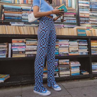 Casual Splicing Color High-waist Straight-knit Pants NSNWQ56329