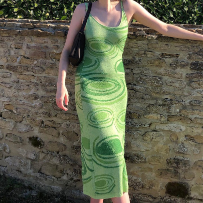 Vortex Hit Color Back Hollow Slim Knit Suspender Dress NSNWQ56410