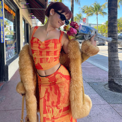 Printing Color Contrast Folds Sling Vest Split Long Skirt Set NSNWQ56416