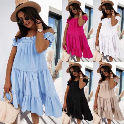 Fashion Women's Off-shoulder Solid Color Loose Dress NSJIN56736