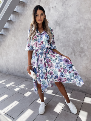 Summer Print Mid-length Floral Irregular Shirt Dress NSJIN56737
