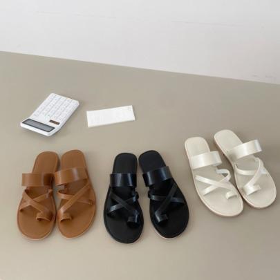 Simple Cross Leather Flat Toe Vacation Roman Sandals NSHU56565