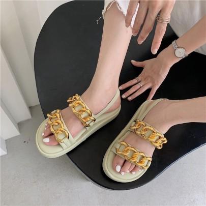 Retro Metal Chain Buckle Thick-soled Platform Sandals  NSHU56567