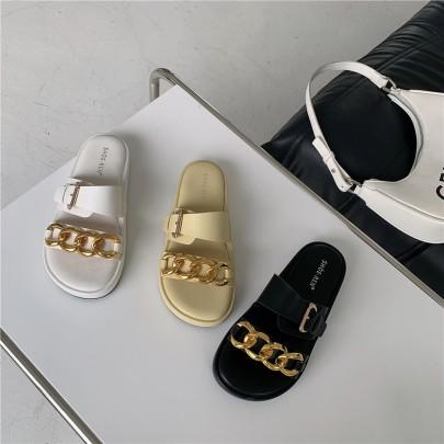 Metal Thick-soled Flat-bottom Sandals  NSHU56573
