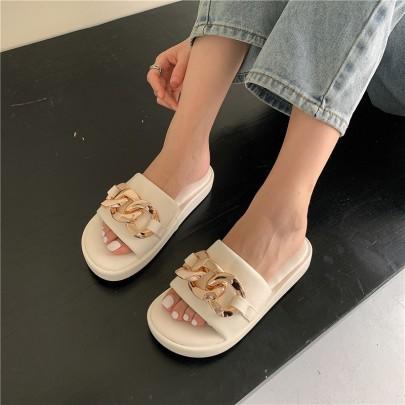 Golden Chain Decor Slide Sandals NSHU56574
