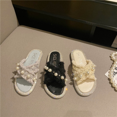 New Thick Bottom Flip-flop Pearl Slippers NSHU56583