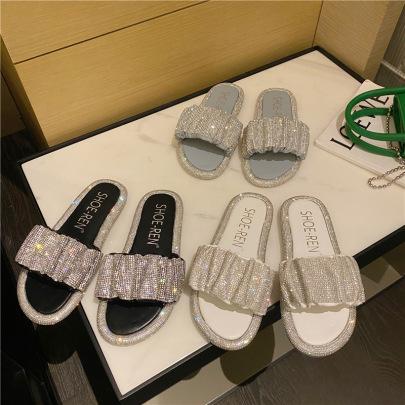 Summer Ruched Rhinestone Flat Sandals NSHU56585