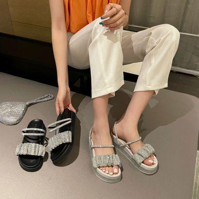 Fashion Ruched Rhinestone Platform Sandals  NSHU56587