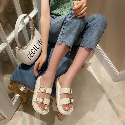 Fashion Solid Color Buckle Slide Sandals NSHU56588