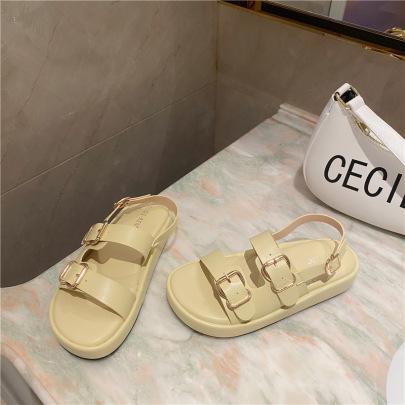 Fashion Plain Color Buckle Platform Shoes NSHU56589