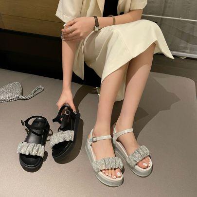 Fashion Trifle Platform Rhinestone Open Toe Sandals NSHU56591