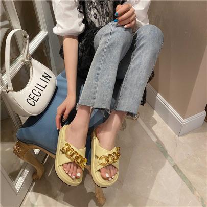 Metal Chain Thick-soled Platform Sandals NSHU56592