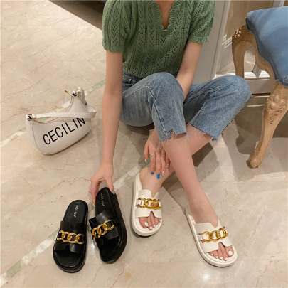 Fashion Thick-soled Metal Buckle Chain Sandals NSHU56593