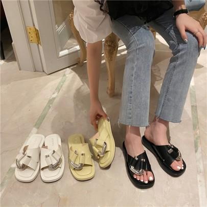 Retro Metal Buckle Open-toe Flip-flops Square Head Low-heeled Sandals NSHU56595