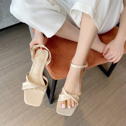 Fashion Low-heeled Thick-heeled Roman Shoes  NSHU56597