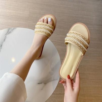 Fashion Tide Pearl Soft Leather Sandals NSHU56598