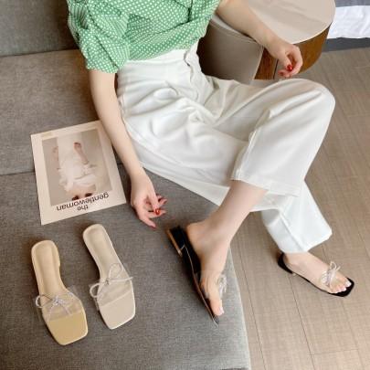 Rhinestone Decor Square Toe Clear Slide Sandals NSHU56600