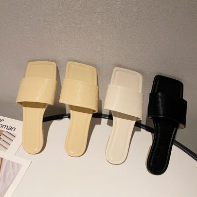 Fashion Plain Color Square Toe Slide Sandals NSHU56599