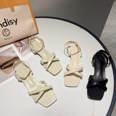 Fashion Cross Straps Square Toe Sandals NSHU56601