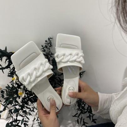 Metal Chain Square Toe Sandals NSHU56602