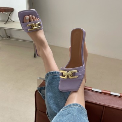Golden Metal Decor Square Toe Slide Sandals NSHU56613
