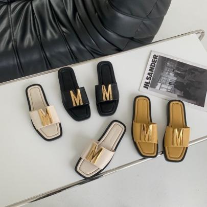 Summer New Metal M Decor Slide Sandals NSHU56615