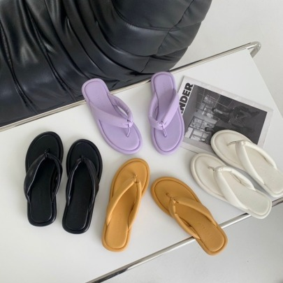 Summer Solid Color Thong Sandals NSHU56616