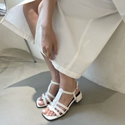 Retro Cross-woven Low-heeled Open-toed Sandals NSHU56617