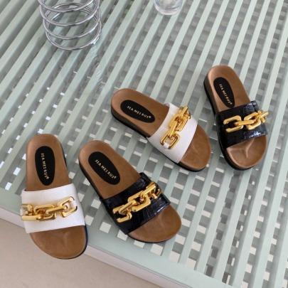 Fashion Metal Golden Chain Decor Slide Sandals NSHU56618