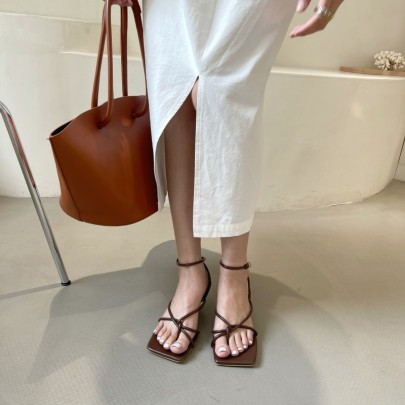 Fashion Square Toe Mid-heel Stiletto Sandals NSHU56623