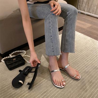 Casual Fashion Set-toe Rhinestone Flat-bottomed Sandals  NSHU56625