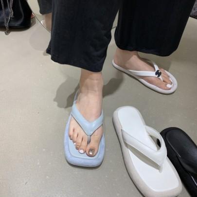 Fashion Solid Color Platform Thong Sandals NSHU56627